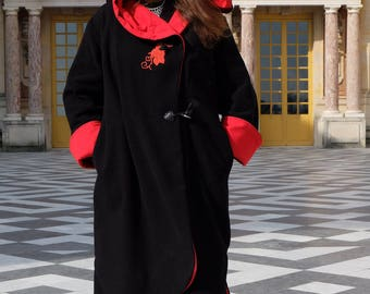 Cloak / elven long hooded wool jacket embroidered Roses
