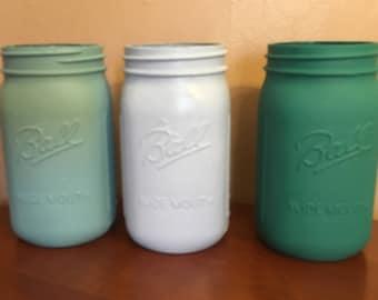 Jade Tones Mason Jar Set-- Quart Sized