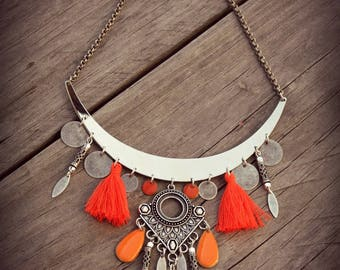 BALANCES, bib necklace, tassel necklace, ethnic necklace, silver necklace, Boho necklace bohemian necklace Hippie necklace, Tribal necklace