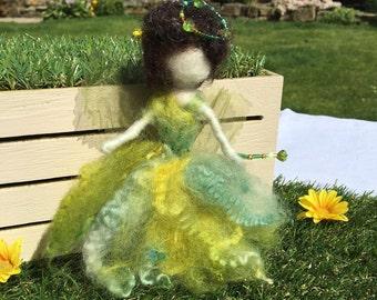 Handmade Green Needle Felted Wool Fairy