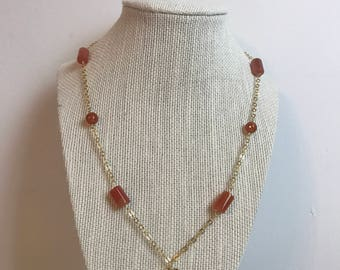 Handcrafted 14 K Gold Filled Chain, Coral Beads