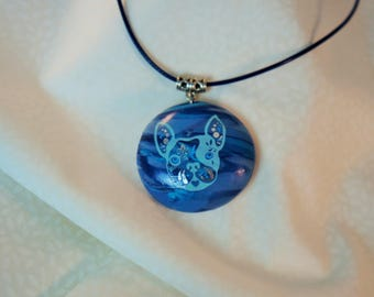 Blue Bulldog round pendant necklace, french volume half sphere, dog, gift idea for woman blue jewelry, blue necklace