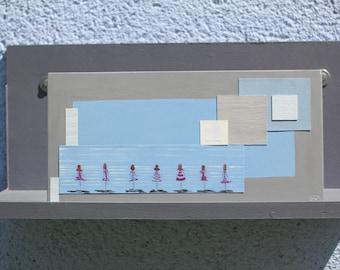 """peinture acrylique sur bois et collages minimaliste camaïeu de gris et bleu , """"Regards sur l'avenir """""""