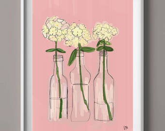 hydrangea wall art, new home gift, college student gift, hand draw illustration, graphic wall art, floral wall art, floral digital print,