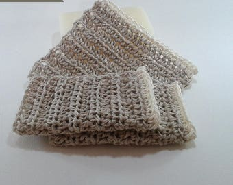 Set of 3 dishcloths tawashi 100% natural hemp 10 cm white border