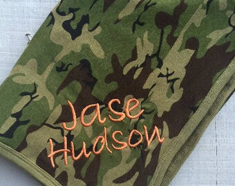 Camo blanket, Camo Baby Blanket, Personalized with Embroidered Baby Name, Camo Receiving Blanket