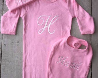 Welcome Home Baby Gown, Monogramed Newborn Outfit, Baby Gown, Baby Hat, Baby Bib