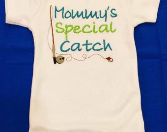 Fishing Baby Clothes, Fishing Onesie, Baby Boy Clothes, Mommy's Special Catch, Embroidered, Bodysuit, Baby Shower Gift