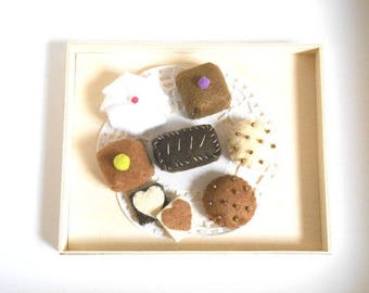 chocolates, petit fours in felt
