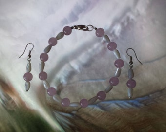 Rose Quartz And Mother Of Pearl Earring And Bracelet Set. Sliver Plated. Non-allergic.