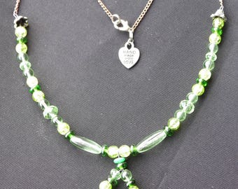 Green Glass and Chain Necklace