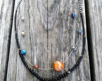Solar system and sun necklaces