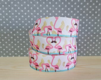 1 meter of Ribbon Gros Grain pink flamingos