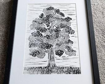 Oak Tree Linocut Print, Hand Printed Tree Block Print, Tree Poster, Black and White Tree Print