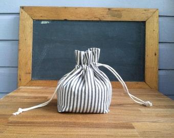 Reusable Bulk Grocery Bag- Blue Ticking