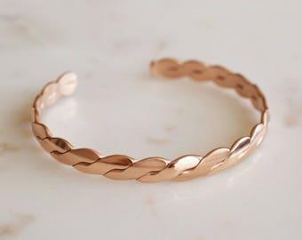 BOHO BANGLE; rose gold braided bangle; bohemian jewelry; bangle; cuff; stainless steel cuff; rose gold bangle; bracelet; arm cuff