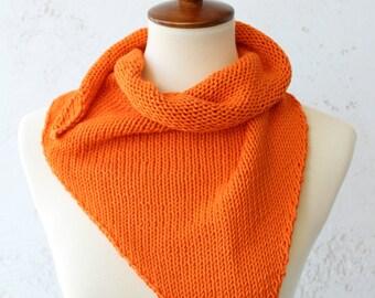 Hand knit orange pima cotton triangle bandana scarf orange scarf orange knit scarf pimp cotton scarf
