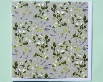 Lime Flower and Lavender Greetings Card
