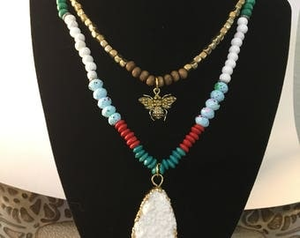 Boho Beaded Layering Bee Necklace with Raw White Crystal