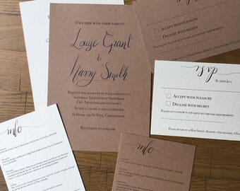 SAMPLE Simple Wedding Invite set
