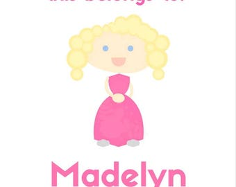 Light Blonde Hair with Blue Eyes, Pink Dress - This Belongs To... - Customizable Digital Sticker File
