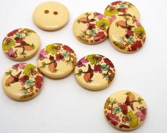 8 Wooden Flower and Bird Print 2 hole Buttons 18mm