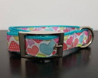 """1"""" Multi Colored Hearts Valentine's Dog Collar"""