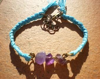 Natural stones bracelet, stone bracelet, amethyst bracelet, braided bracelet, friendship bracelet, bronze bracelet