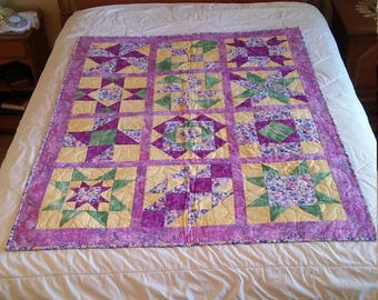 Purple and Yellow Pansy Sampler Quilt