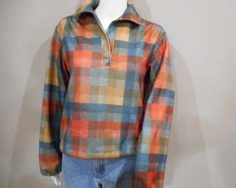 70's plaid blouse/size medium-large/ Draw String Waist Pullover Shirt Jane Colby