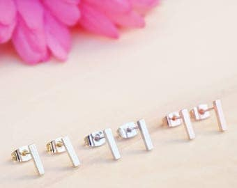 Simple Bar Earrings, Minimalist Bar Stud Earrings, Everyday Tiny Bar Stud Earrings, Rose Gold, Gold or Silver Earrings