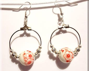 Red ceramic beads and Silver Flower Earrings