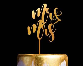 Mr and Mrs Wedding Cake Topper, Gold Cake Topper, Keepsake Cake Toppers
