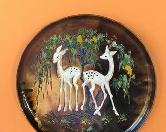 Vintage Sagitta Holland Enamel on Copper Plate, Enamel Deer Plate, Wall Art, Gallery Wall, Collectible Plate