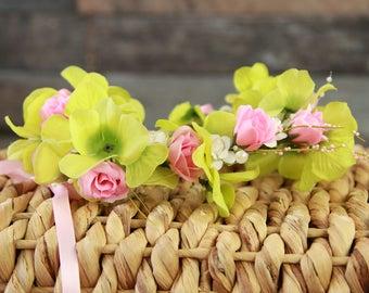 Petal Pink & Pearls Flower Halo Crown