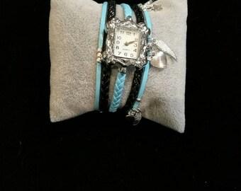 Wristwatch multi strand blue and black