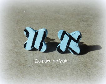 Black blue clover hand made polymer clay earrings