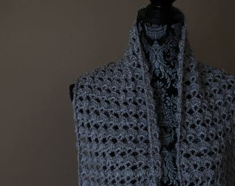 Gray Hand Crocheted Pashmina