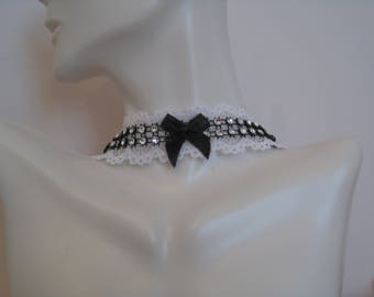 Choker for women, white lace choker with gem, black mesh and black bow, Gothic choker for women, Victorian choker