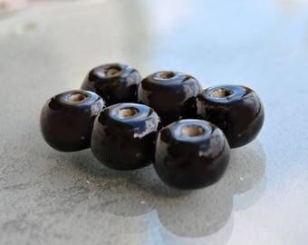 6 shaped Black ceramic donut 16mm rondelle beads