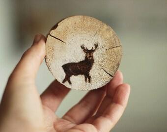 Deer Wood Slice Acrylic Painting