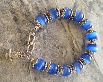 Bright blue cats eye bracelet