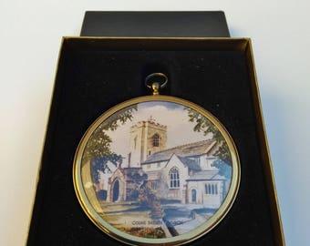 Fine Art MINIATURE Colne Parish Church in 75mm Brass Frame | Miniature World of Peter Bates London | St Bartholomew's Church in Lancashire