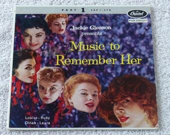"""Jackie Gleason Presents """"Music To Rememer Her By"""" 1957 Vintage - 7"""" EP 45 RPM"""