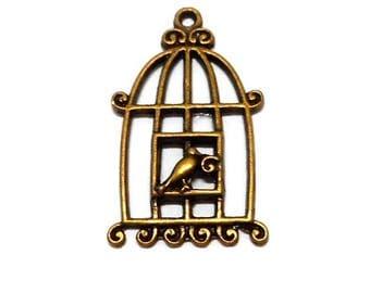 Bronze metal bird cage charm