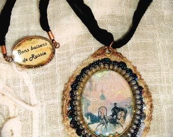 Beads on leather woven Nevsky prospect, elegant cabochon designer pendant, gold