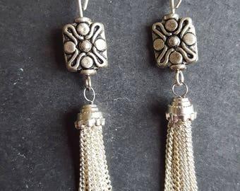Silver Chain Link Tassel Earrings