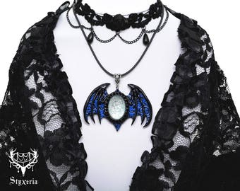 Vampire Necklace || Gothic Jewelry || Bat Pendant || baroque pattern || Clay Art || Goth Jewellery || Moon Stone || blue black || inged