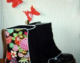 Fabric and black Leggings Black Japanese flowers
