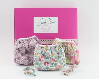 TRIO of panties in Liberty for little girls from 2 to 10 years old.